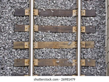 close up of  rails and  sleeper /  industrial background