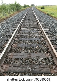 close up of a railway track with perspective - portrait orientation