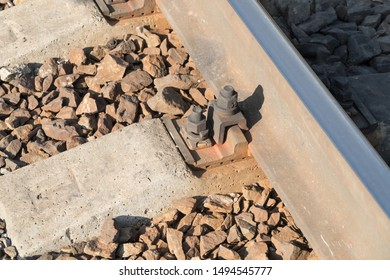Close up of railway tracks. view from above
