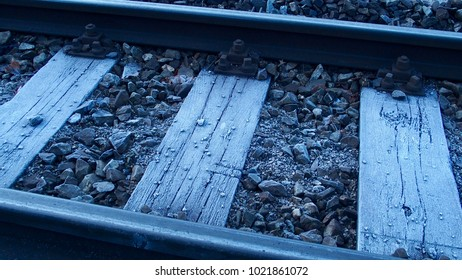 Close up railway in winter