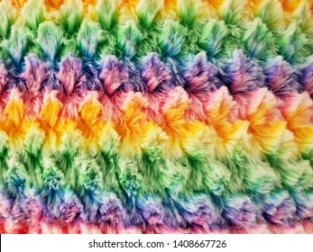 close up of rainbow faux fur fabric