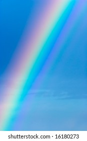 Close up of rainbow on blue sky