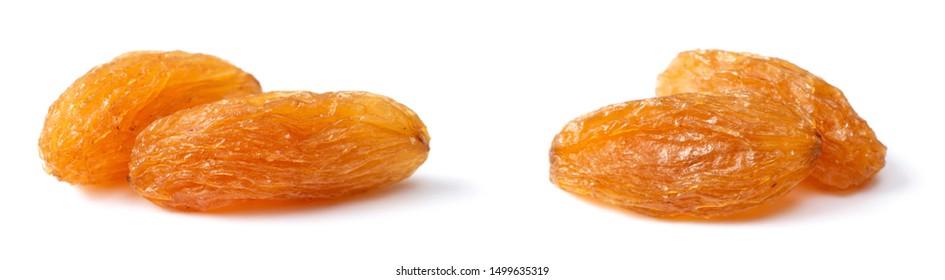 close up of raisin isolated on white background