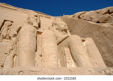Close up of Ramses II statues in Abu Simbel