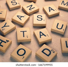 Close up of random scrabble alphabet letters