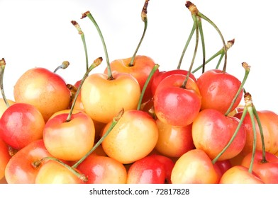 Close up of Ranier cherries