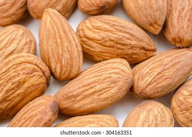 Close up raw Almonds background
