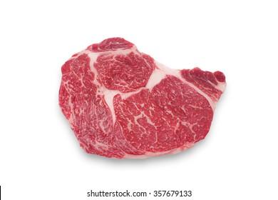 Close up raw beef rib eye steak isolated on white - deep focus i