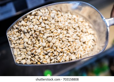 Close up Raw Millet on a scoop in the market. wholegrain  for clean food and lean food. healthy vegetable food. iamge for object and copy space.