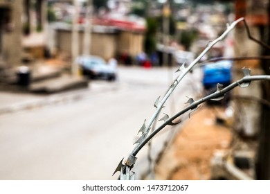 Close up of Razor Barb Wire on a fence in Urban South African Township