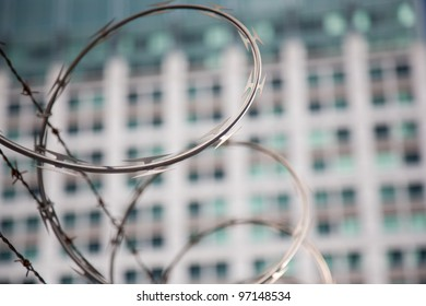 Close up of razor wire on a fence