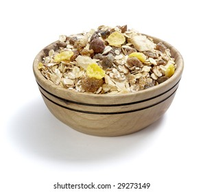 close up of ready to use muesli on white background with clipping path, shadow is not included