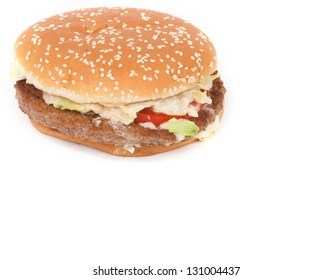 close up of a real Big hamburger on white background