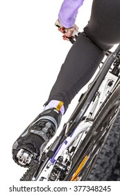 Close up rear view cyclist pedaling bike isolated on white background