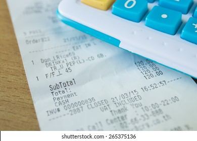 Close up of receipt paper, focus text cash, payment