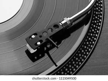 Close up of record player playing vinyl