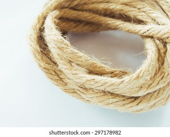 Close up of recycle rope on white background, Filter process