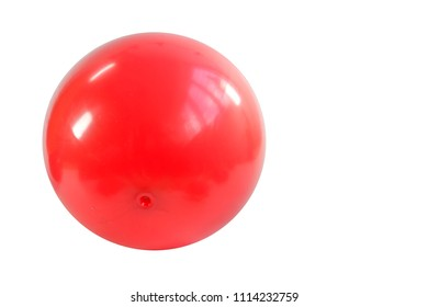Close up of a red ball isolated on white background, selective focus. Clipping path include.