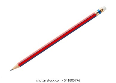 Close up red and blue color wood pencil isolated on white with clipping path