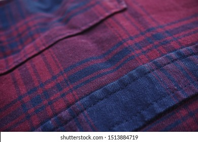 close up of red blue flannel shirt from several angle