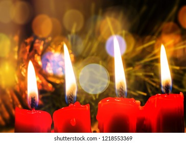 Close up of Red candle light with bokeh on Christmas night, Christmas background