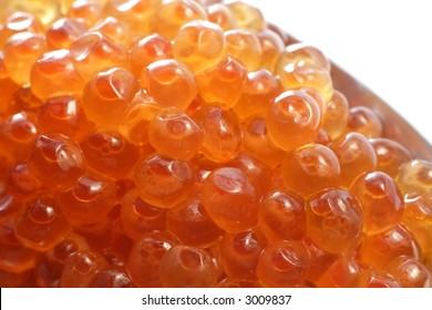 Close up of red caviar