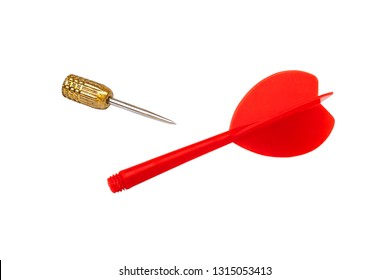 Close up red dart broken isolated on white background.