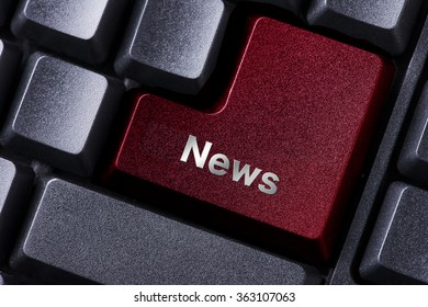 close up red enter button written news