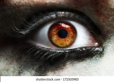 Close up red eye vampire female