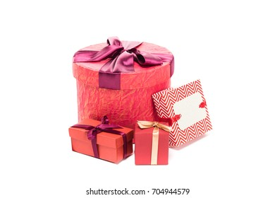 close up of red gift boxes, isolated on white