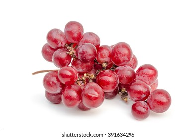 close up of red grape isolated white background