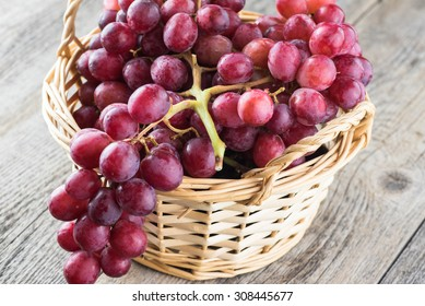 Close up of red grapes in a basket.