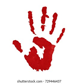 Close up of red hand painted isolated on white background