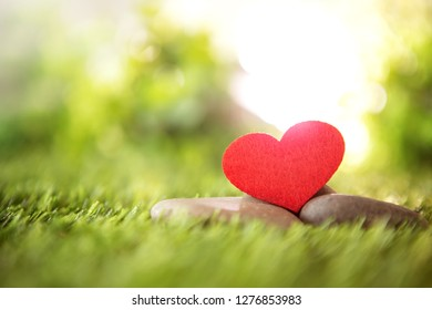 close up red heart shape on green fresh grass , good relax and love romance feeling symbol , valentines day background