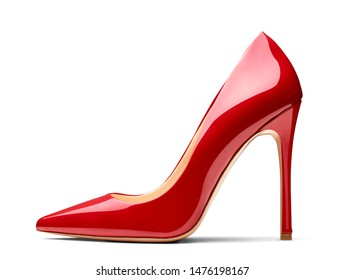 close up of a red high heel stiletto on white background