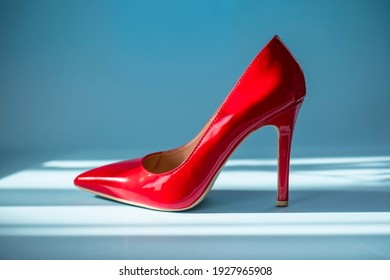 close up of a red high heels