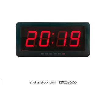 close up red led light illumination numbers 2019 on black digital electric alarm clock face isolated on white background, time symbol concept for celebrating the New Year