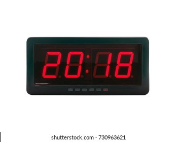close up red led light illumination numbers 2018 on black digital electric alarm clock face isolated on white background, time symbol concept for celebrating the New Year