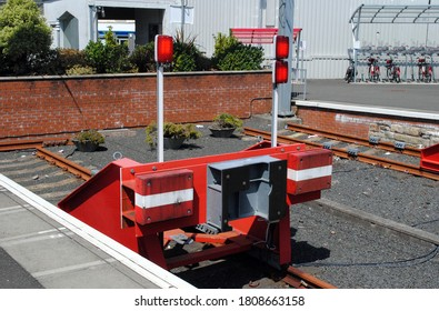 Close Up of Red Painted Railway Buffers at  Terminal Station