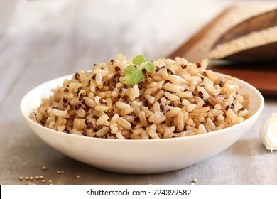 Close up of Red Quinoa brown rice served in a bowl, selective focus