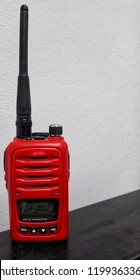 Close up of red radio communication,Used in the factory.