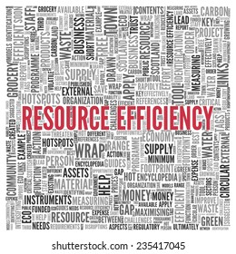 Close up Red RESOURCE EFFICIENCY Text at the Center of Word Tag Cloud on White Background.