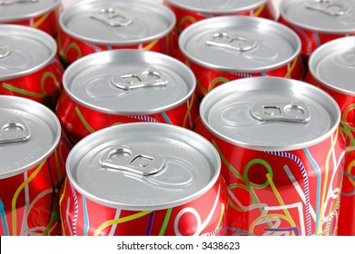 Close up of red soda cans background