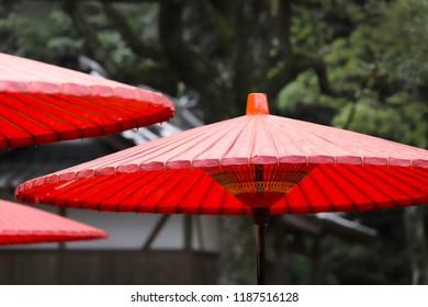 Close up of red umbrella. Japanese style umbrella