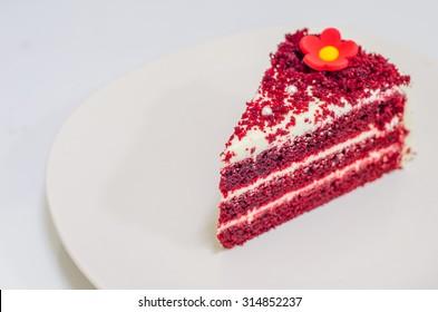 Close up of red velvet cake.