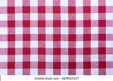 Close up of red and white cross pattern and texture, as chess table. Red and white chess table.