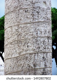 """Close up of the reliefs on Trajan's Column (2nd century CE) , depicting his battles in Dacia. The column stands publicly visible near the """"Piazza di Venezia"""" in Rome, Italy"""