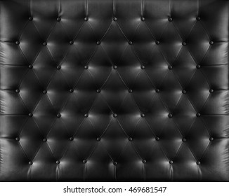 Close up retro chesterfield style, Black capitone textile background