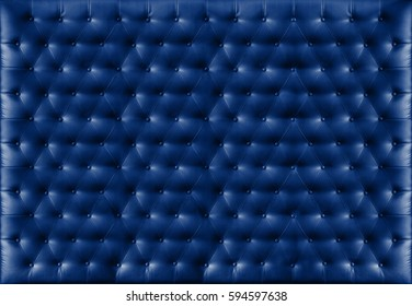 Close up retro chesterfield style, Blue capitone textile background