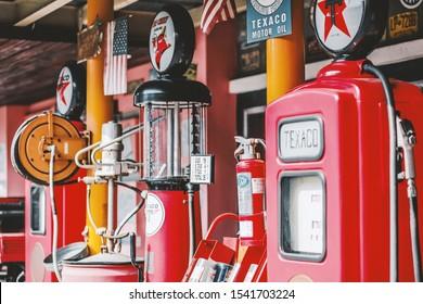 close up of retro gas station. vintage styled image. Jakarta Indonesia, July 2019